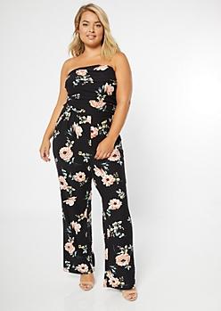 Plus Black Floral Print Super Soft Jumpsuit