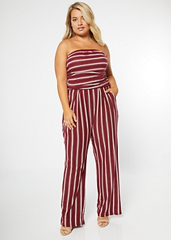 Plus Burgundy Striped Super Soft Jumpsuit