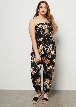 Plus Black Floral Print Super Soft Tube Top Jumpsuit