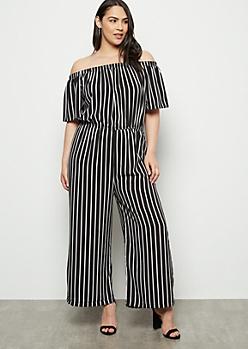 Plus Black Striped Off The Shoulder Jumpsuit