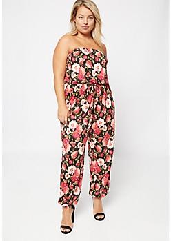 Plus Black Floral Print Super Soft Strapless Jumpsuit
