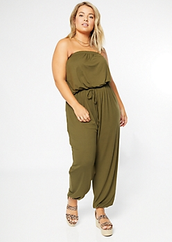 Plus Olive Super Soft Strapless Jumpsuit