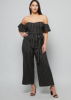 Plus Black Dotted Striped Off The Shoulder Jumpsuit