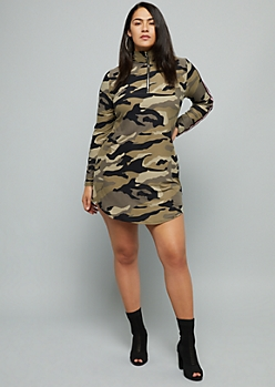Plus Camo Print Long Sleeve Half Zip Dress
