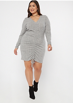 Plus Gray Ruched Front Sweater Dress