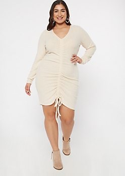 Plus Oatmeal Ruched Front Sweater Dress