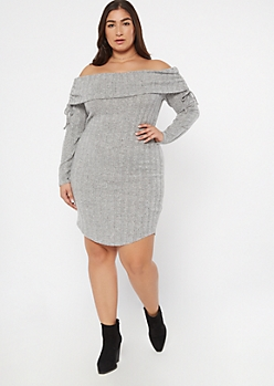 Plus Gray Ruched Off The Shoulder Sweater Dress
