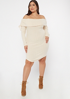 Plus Oatmeal Ruched Off The Shoulder Sweater Dress