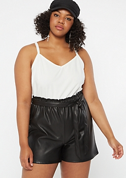 Plus White Faux Leather Paperbag Waist Romper