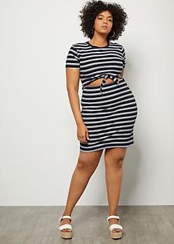 Plus Black Striped Ribbed Knit Tie Cutout T Shirt Dress