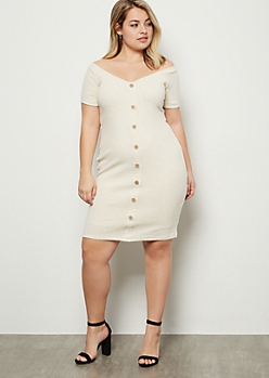 Plus Oatmeal Ribbed Knit Button Down Bodycon Dress