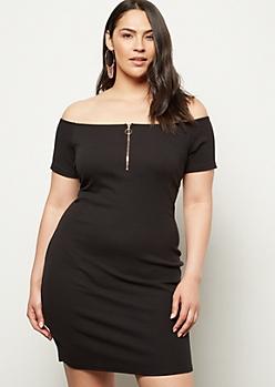 Plus Black Off The Shoulder Zip Bodycon Dress