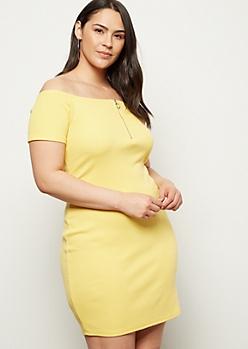 Plus Yellow Off The Shoulder Zip Bodycon Dress