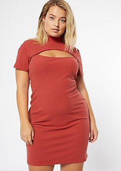 Plus Burnt Orange Keyhole Cutout Mock Neck Bodycon Dress