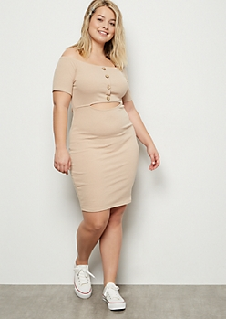 Plus Tan Button Front Cutout Ribbed Bodycon Dress