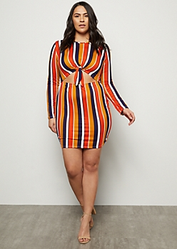 Plus Burnt Orange Striped Tie Front Cutout Mini Dress