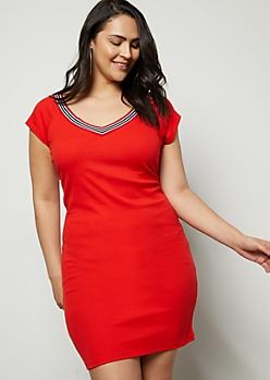Plus Red Striped V Neck Back Mini Dress
