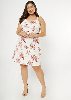 Plus Ivory Floral Print Surplice Skater Dress
