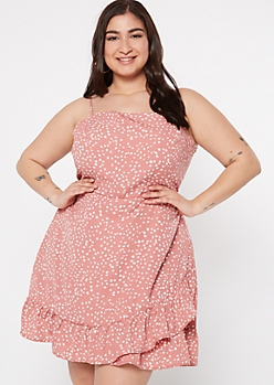 Plus Dusty Pink Leopard Print Ruffle Wrap Dress