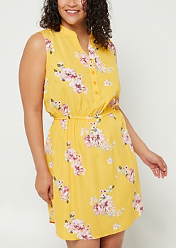 Plus Mustard Floral Button Shirt Dress