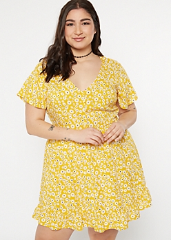 Plus Yellow Rose Print Flutter Hem Dress