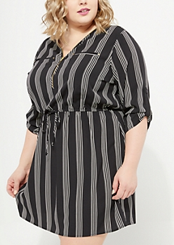 Plus Black Striped Zip Front Woven Shirt Dress