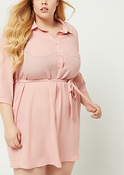 Plus Medium Pink Button-Down Shirt Dress