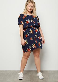 Plus Navy Floral Print Button Front Mini Dress
