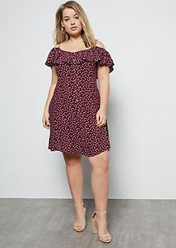 Plus Burgundy Dotted Cold Shoulder Dress