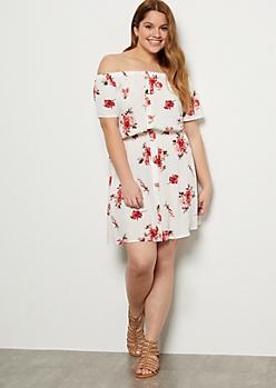 Plus White Floral Print Button Down Off The Shoulder Dress