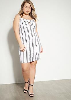 Plus White Striped Tie Front Sleeveless Mini Dress