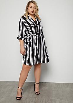 Plus Black Striped Super Soft Button Down Dress