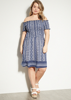 Plus Blue Border Print Off The Shoulder Smocked Dress