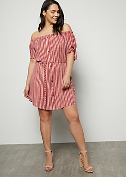 Plus Dark Pink Border Print Tie Sleeve Dress