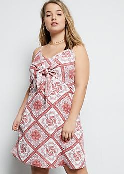 Plus Pink Paisley Border Print Tie Front Bodice Dress