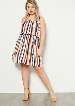 Plus White Striped Ruffle Trim Dress
