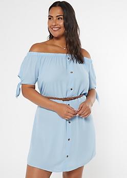 Plus Light Blue Off The Shoulder Faux Button Dress