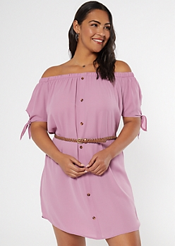 Plus Magenta Off The Shoulder Faux Button Dress