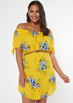 Plus Mustard Floral Print Off The Shoulder Faux Button Dress