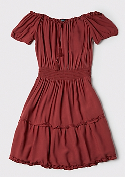 Plus Burnt Orange Off The Shoulder Ruffle Dress