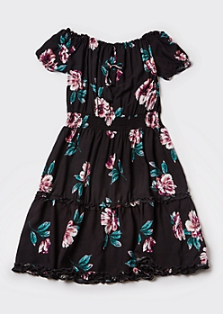 Plus Black Floral Print Off The Shoulder Ruffle Dress