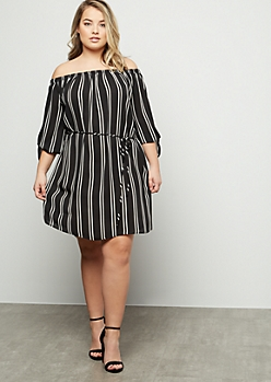 Plus Black Striped Off The Shoulder Chiffon Mini Dress