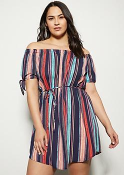 Plus Navy Striped Off The Shoulder Tie Sleeve Dress