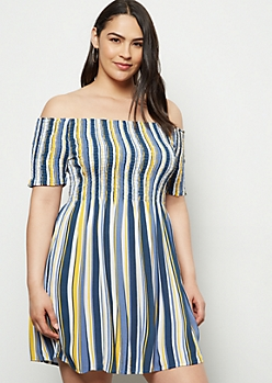 Plus Blue Striped Off The Shoulder Smocked Dress