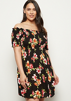 Plus Black Floral Print Smocked Off The Shoulder Dress