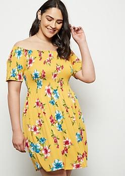 Plus Mustard Floral Print Smocked Off The Shoulder Dress