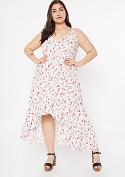 Plus Ivory Floral Print High Low Ruffle Hem Dress