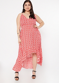 Plus Red Floral Print High Low Ruffle Hem Dress