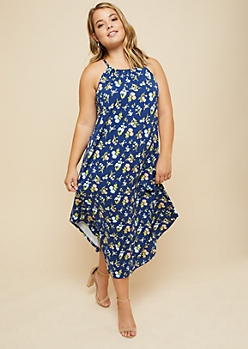 Plus Navy Floral Print High Neck Midi Dress