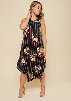 Plus Black Striped Floral Print High Neck Midi Dress